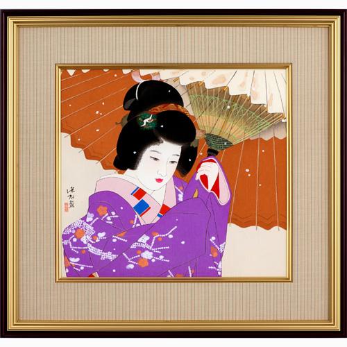 伊東深水『雪』 木版画 絵画 美人画 上村松園 玄冶店派 朝丘雪路 日本芸術院 通販 販売