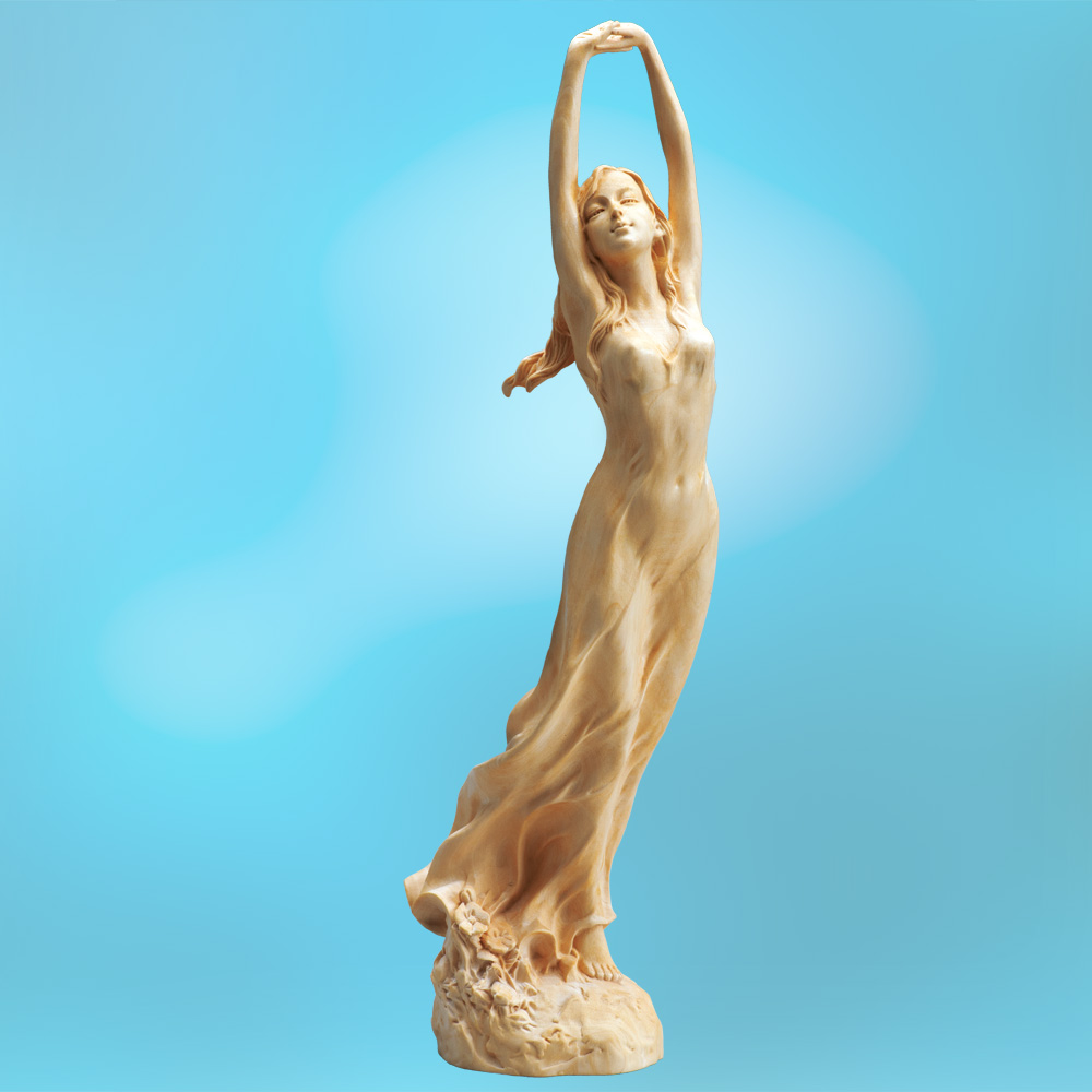 葉偉混 本黄楊一木彫り『魅せられて』【女体・女性・人形・木彫・くびれ・ウエスト・ヒップ】【通販・販売】