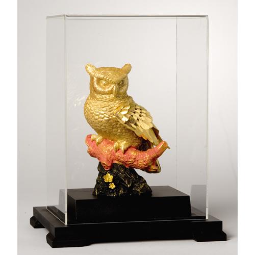 純金箔貼り『黄金のふくろう』【贈り物・フクロウ】【通販・販売】