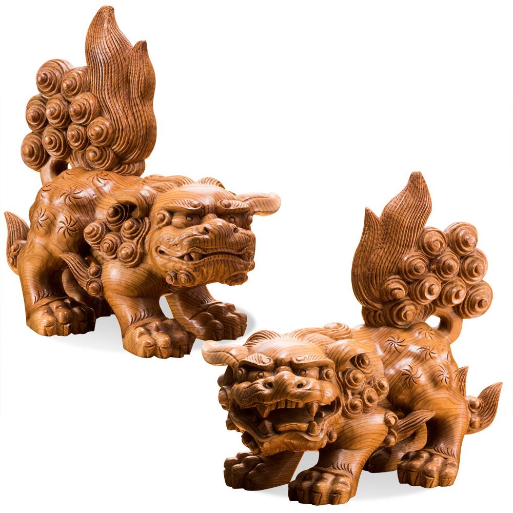 御神木 屋久杉『獅子狛犬』2体1組【神社・阿吽・犬・狛犬・木彫】【通販・販売】