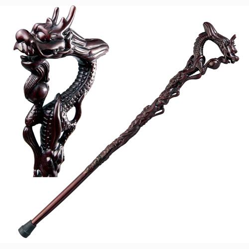 鉄刀木『龍珠杖』ゴム付きステッキ(Lサイズ)【ステッキ・杖・龍・彫刻】【通販・販売】