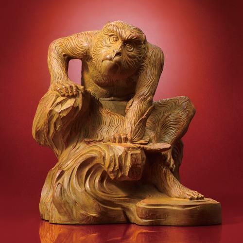 『老猿』黒檀調台座つき【木彫・置物】【通販・販売】