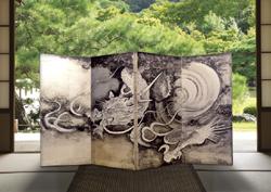 手描き・銀箔画仕上げ 四曲屏風『雲龍図』