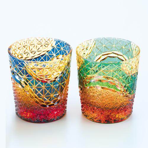 最高位クリスタルガラス 琥珀地江戸切子『オールドグラス2種セット』江戸切子士門脇裕二【グラス・ガラス】【通販・販売】