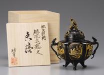 旭峰作 銅製 漆びき香炉『麟鳳亀龍』