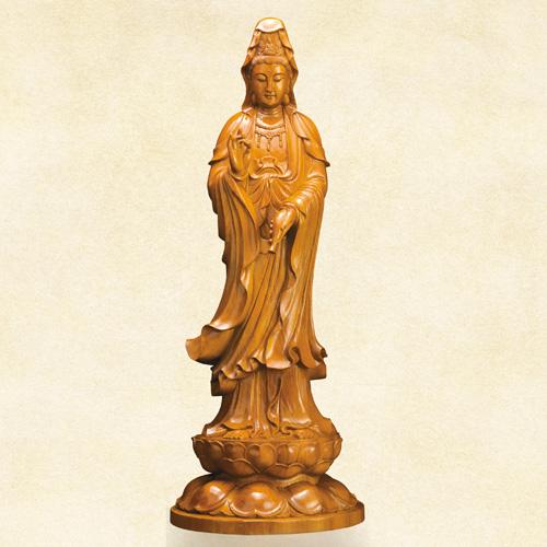 工芸美術師李開模 黄金楠『水瓶観音』【木彫・仏像】【通販・販売】