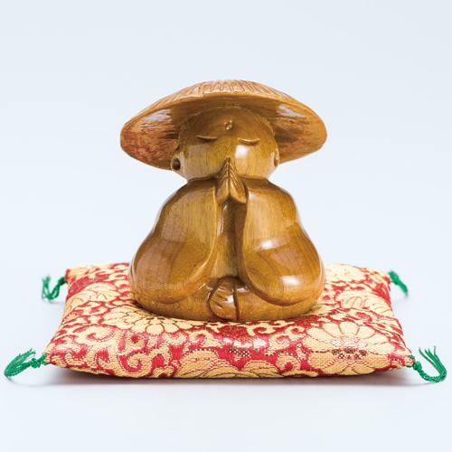 郭高良 金絹楠 一木彫『御願地蔵』座布団つき【仏像・地蔵菩薩・手のひらサイズ】【通販・販売】