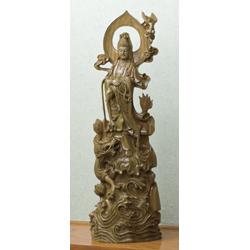 緑檀『龍上滴水聖観音』 (中)高さ65cm 李建敏【大型彫刻・木彫・仏像】【通販・販売】