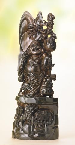 李建敏 緑檀一本彫『満福布袋』【木彫・布袋】【通販・販売】