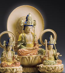 葉小鵬 桧細密彫刻 『釈迦三尊』三尊揃え【通販・販売】