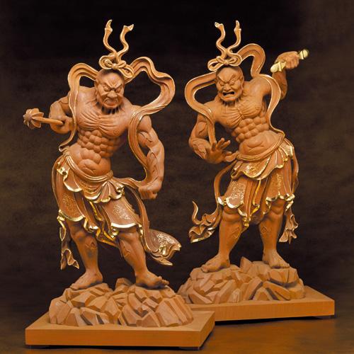 葉偉こん 純金箔 天然楠一木彫『金剛力士像』(阿吽像)二尊一組【仏像】【通販・販売】