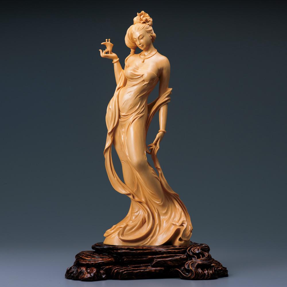 葉小鵬 一木彫り細密彫刻 檜『楊貴妃~酔牡丹』【木彫・仏像・女性像・女体・美人】【通販・販売】