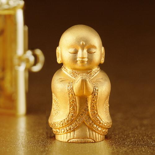 サヤン 純金『懐中合掌地蔵尊 完全黄金仕様』【仏像・ペンダント・根付】【通販・販売】