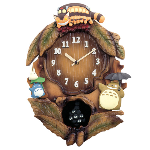 掛け時計『となりのトトロ』~ネコバスとトトロ~【ジブリ・宮崎駿・トトロ・マックロクロスケ・森・アニメ・壁掛け時計・メロディー・オルゴール・音つき】【通販・販売】