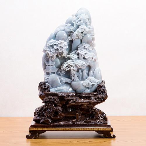 ミャンマー翡翠細密一石彫り 伍輝 満願神通『遊仙境』【通販・販売】