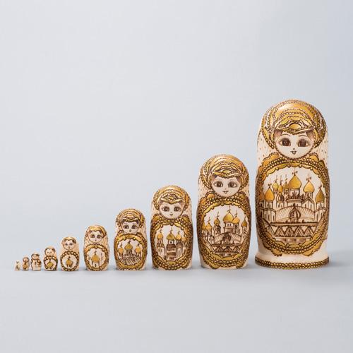 椴松彩色仕上げ『マトリョーシカ人形』【ロシア・人形・名品・土産】【通販・販売】