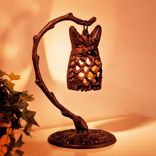 鋳鉄透彫り『ふくろうランタン』【ふくろう・ランプ・スタンド・かわいい】【通販・販売】