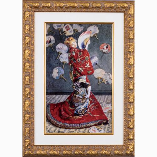 クロードモネ『ラ・ジャポネーズ』高級金色仕上げ 木製額入り【日本・着物・洋画・絵画】【通販・販売】