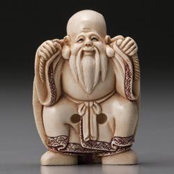 朱忠盛 マンモス牙細密彫刻根付『福禄寿と吉祥亀』