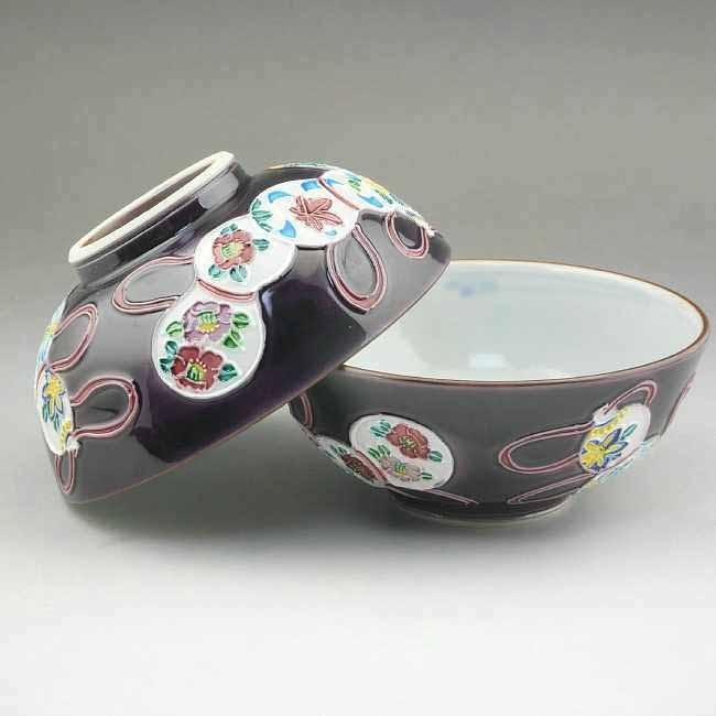 京焼  清水焼 紫交趾六瓢夫婦茶碗 昇峰