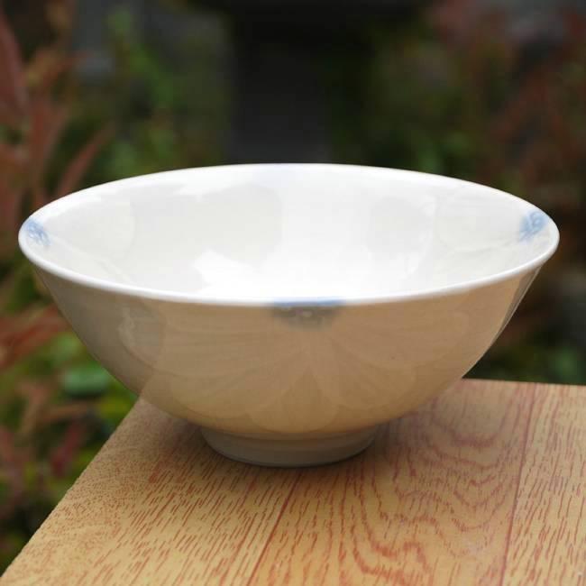 Shimizu ware flowers slowly carried rice bowl white