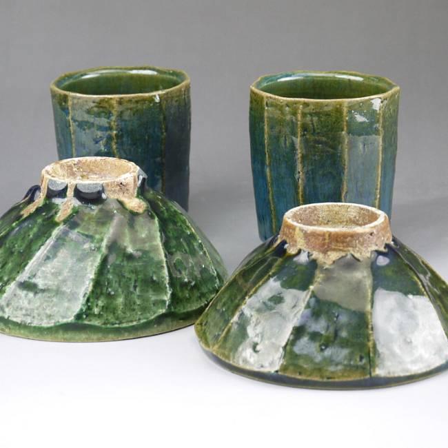 京焼  清水焼 織部面取夫婦湯呑と夫婦茶碗セット 木野窯