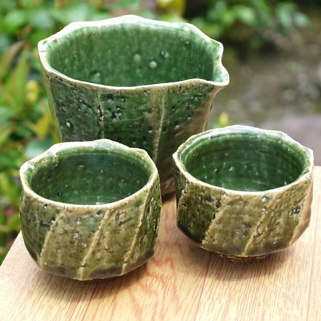 京焼  清水焼 織部面取片口セット 木野窯