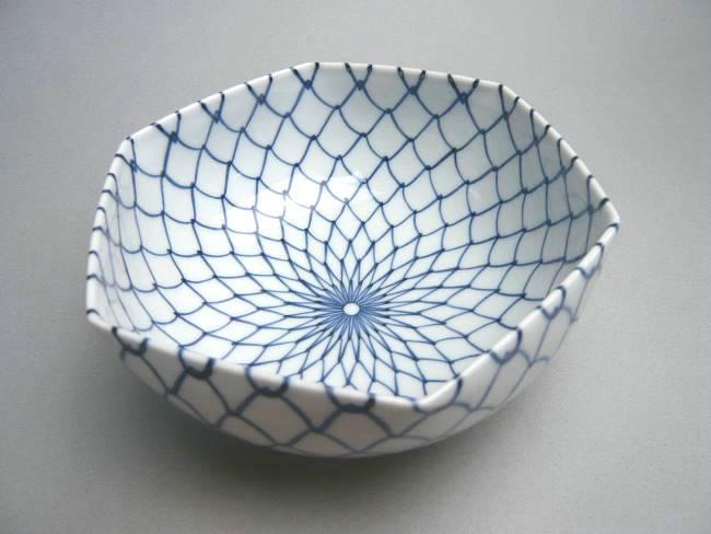 京焼  清水焼 網目六角鉢 大のサイズ