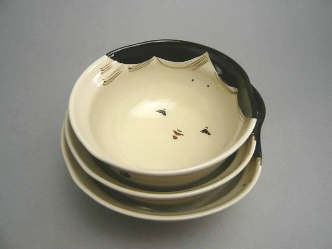 京焼  清水焼 お福ご飯茶碗 三段重 与し三
