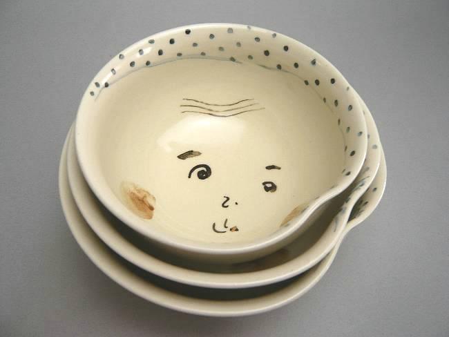 京焼  清水焼 ひょっとこご飯茶碗 三段重 与し三