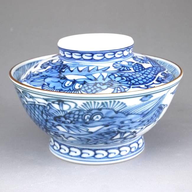 京焼  清水焼 平八龍ご飯茶碗 蓋付 小