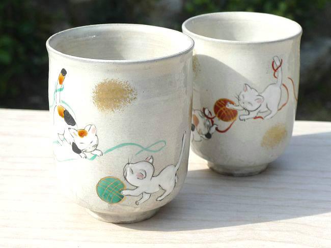 Shimizu yaki temari cat couple Cup