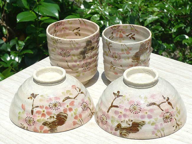 京焼  清水焼 桜の花夫婦湯呑と夫婦茶碗 花日より