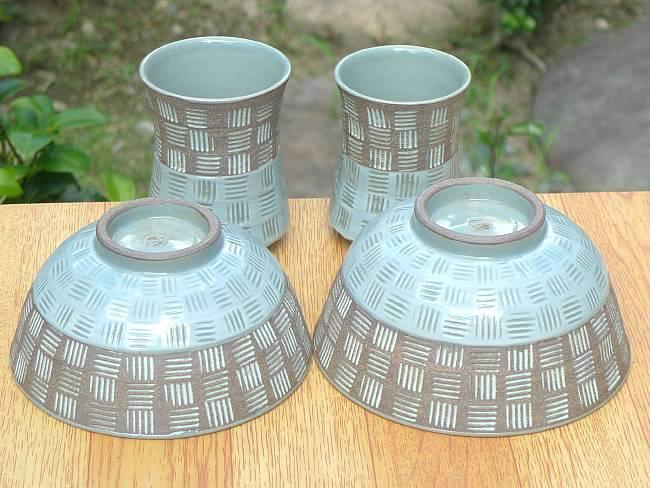 京焼  清水焼 市松彫夫婦湯呑と夫婦茶碗セット 雅楽
