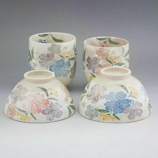 京焼  清水焼 春の風夫婦湯呑と夫婦茶碗セット