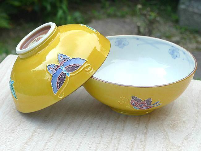 京焼  清水焼 黄交趾蝶々夫婦茶碗 昇峰