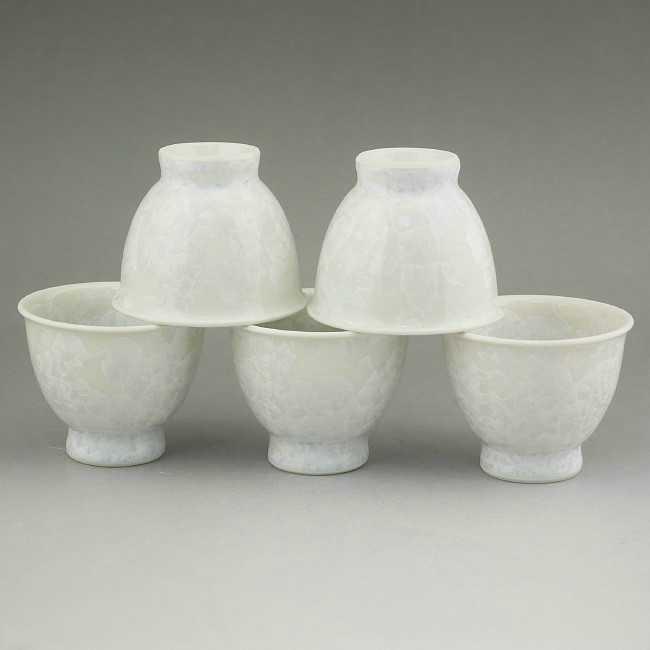 京焼  清水焼 花結晶煎茶碗揃え 白 陶あん