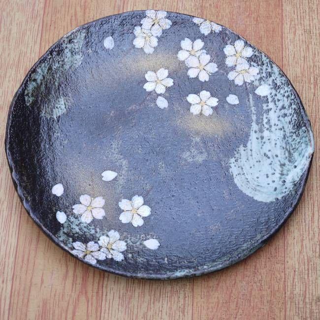 京焼  清水焼 花かがり6寸皿(黒灰釉)  八幡