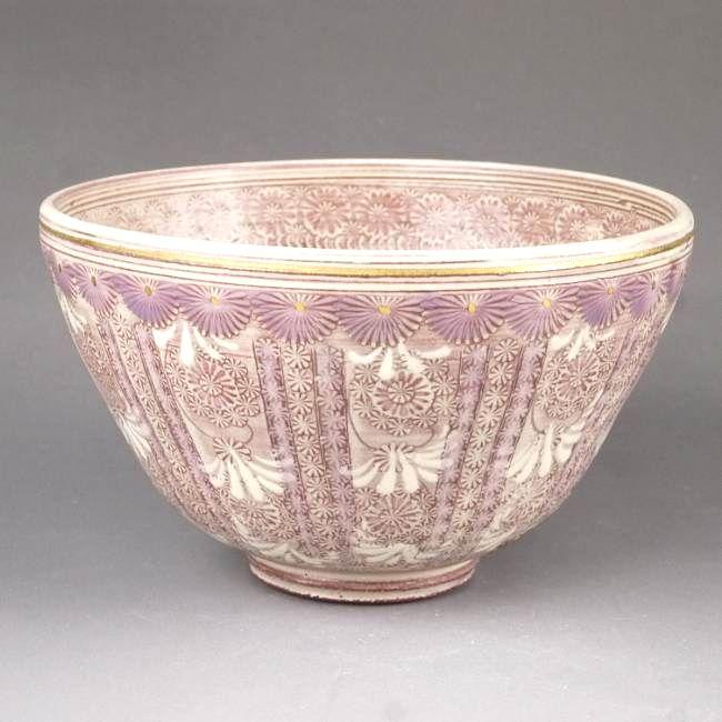 京焼  清水焼 紫彩花紋抹茶茶碗 陶楽
