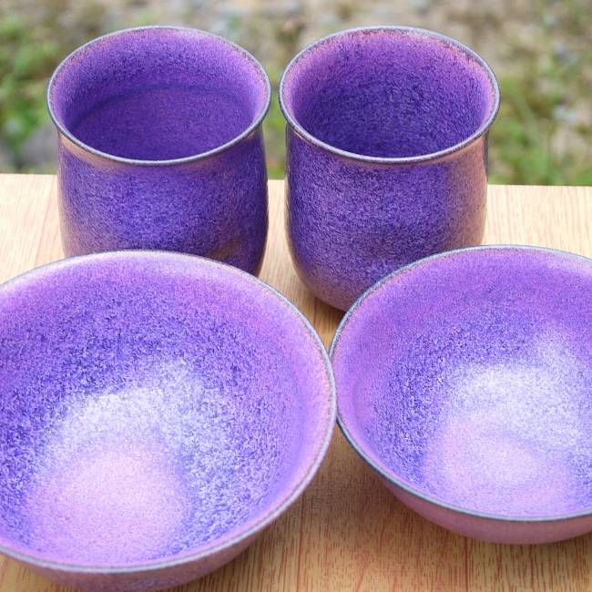 京焼  清水焼 紫式部夫婦湯呑と夫婦茶碗セット 瑞松