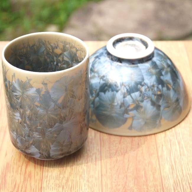 One Kiyomizu ware flower crystal teacup rice bowl set ash blue