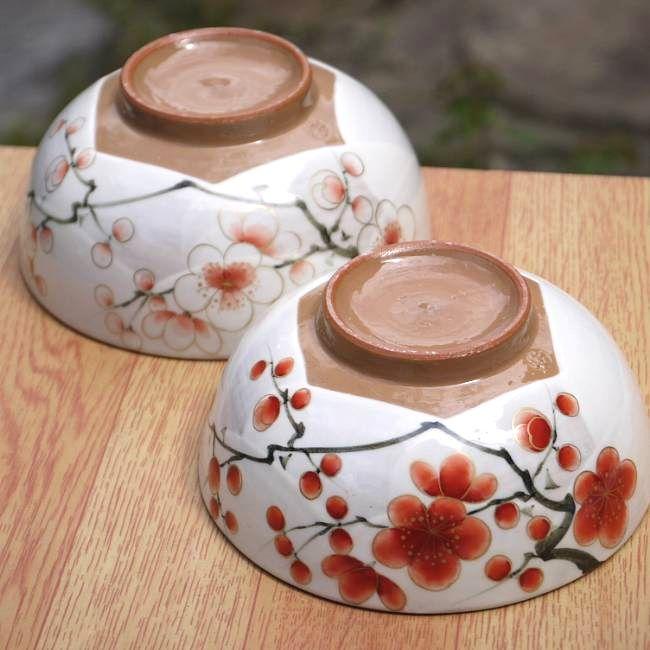 京焼  清水焼 紅白梅夫婦茶碗 陶あん