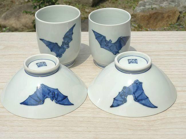 京焼  清水焼 こうもり夫婦湯呑と夫婦茶碗セット
