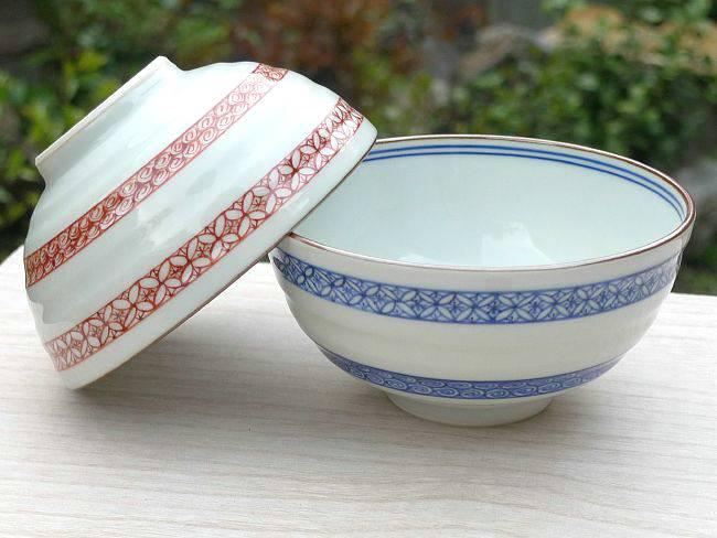 京焼  清水焼 染赤帯小紋夫婦茶碗 岩華