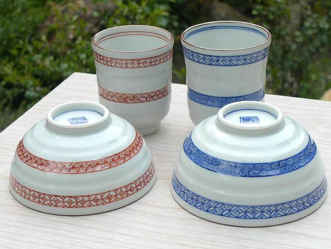 京焼  清水焼 染赤帯小紋夫婦湯呑と夫婦茶碗セット 岩華