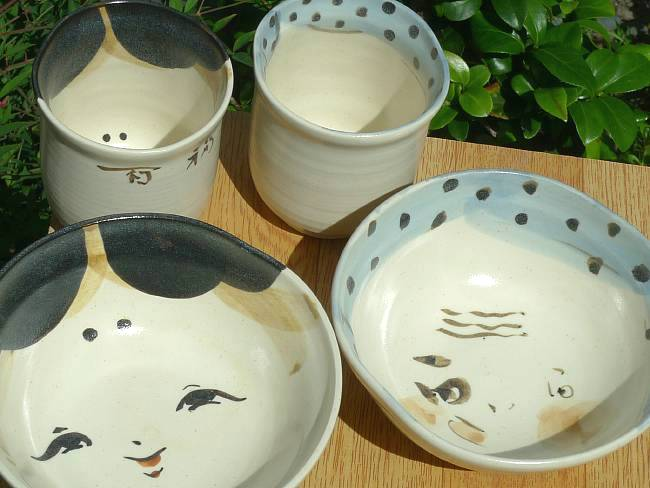 京焼  清水焼 お福とひょっとこ夫婦湯のみと夫婦茶碗セット 俊山