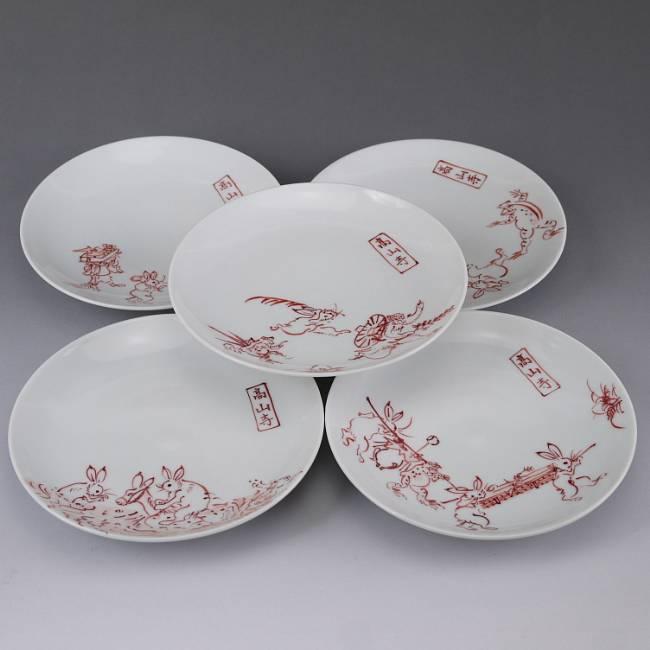 京焼  清水焼 赤絵鳥獣戯画銘々皿揃え 陶仙