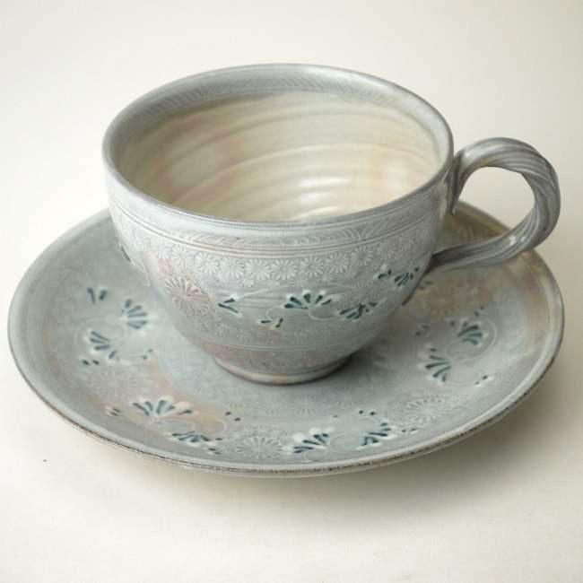 京焼清水焼 花三島コーヒー碗皿 陶楽
