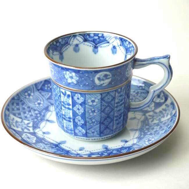 京焼 清水焼 繋ぎ古紋コーヒー碗皿 昭阿弥