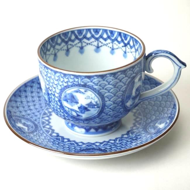 京焼  清水焼 丸紋山水コーヒー碗皿